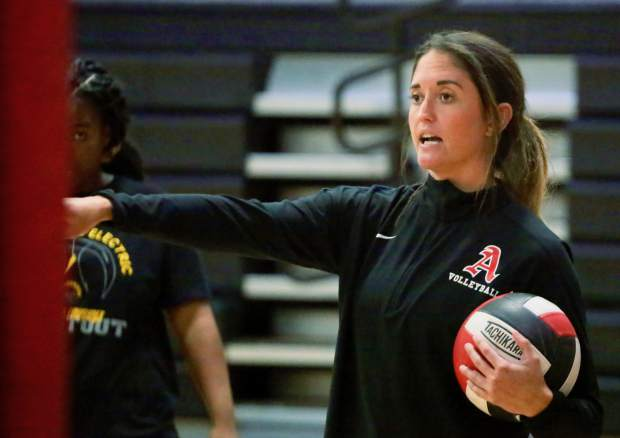 Coach Brittany Zanin leads the Aspen High School volleyball team practice on Tuesday, Sept. 10, 2019, inside the AHS gymnasium. (Photo by Austin Colbert/The Aspen Times)