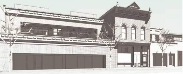 A rendering of what a renovated Red Onion building and adjacent proeprties would look like.