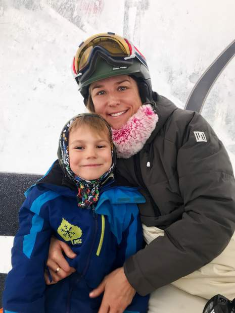 Aspen Valley Ski & Snowboard Club ASK director Meredith Elwell with son, Cody.