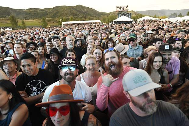 The crowd enjoys music at the JAS Labor Day Experience in Snowmass VIllage on Saturday, Aug. 31.